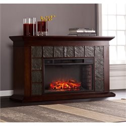 Pemberly Row Electric Fireplace in Warm Brown Walnut