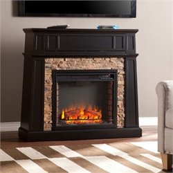 Pemberly Row Faux Stone Fireplace TV Stand in Black