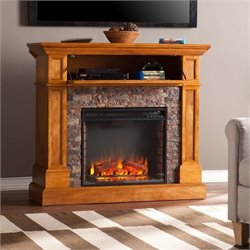 Pemberly Row Faux Stone Fireplace TV Stand in Sienna
