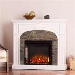 Pemberly Row Faux Stone Electric Fireplace in White