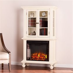 Pemberly Row Electric Fireplace Bookcase in White