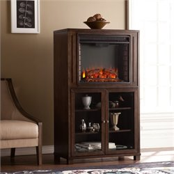 Pemberly Row Electric Fireplace Tower in Espresso
