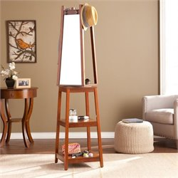 Pemberly Row Swivel Mirror Hall Tree in Espresso