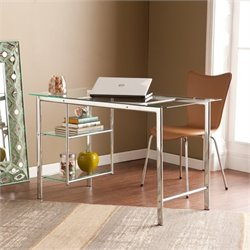 Pemberly Row Glass Desk in Chrome