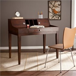 Pemberly Row Sliding Door Secretary Desk in Espresso