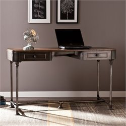 Pemberly Row Industrial 2 Drawer Desk in Gray