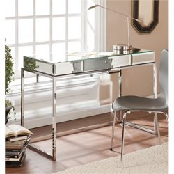 Pemberly Row Mirrored Desk with Drawer in Chrome