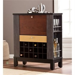 Pemberly Row Home Wine and Bar Cabinet in Black