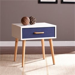 Pemberly Row 1 Drawer Storage End Table in White