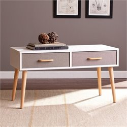 Pemberly Row 2 Drawer Storage Coffee Table in White
