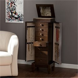 Pemberly Row Jewelry Armoire in Gray Brown Oak