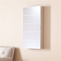 Pemberly Row Wall Mount Jewelry Mirror in Silver