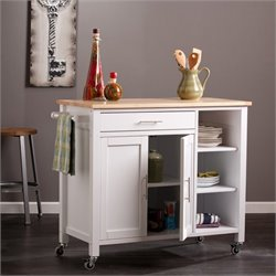 Pemberly Row Kitchen Cart in White