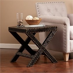 Pemberly Row Nailhead X Accent Table in Black