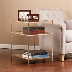 Pemberly Row Glass Side Table in Metallic Gold