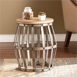 Pemberly Row Accent Table in Weathered Fir and Silver