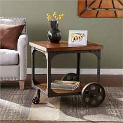 Pemberly Row Industrial Accent Table in Oak