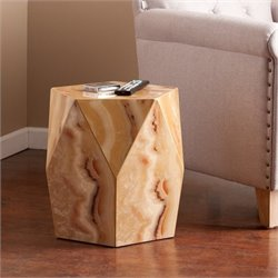 Pemberly Row Faux Stone Accent Table