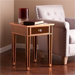 Pemberly Row Colored Mirror Accent Table in Bronze