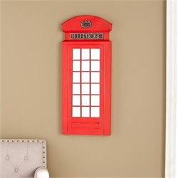 Pemberly Row Phone Booth Wall Mirror in Matte Red