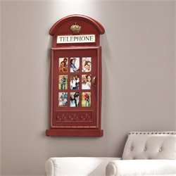 Pemberly Row Phone Booth Wall Mount Photo Frame in Red