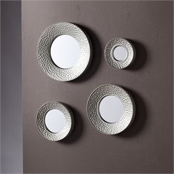 Pemberly Row 4 Piece Sphere Wall Mirror Set in Hammered Silver