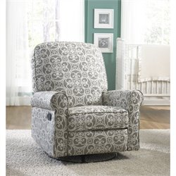 Pemberly Row Fabric Swivel Glider Recliner in Gray