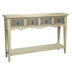 Pemberly Row 4 Drawer Console in White and Blue