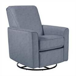 Pemberly Row Fabric Swivel Glider Recliner in Carlton Dove