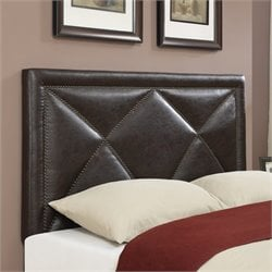 Leather Upholstered Headboard in Brown