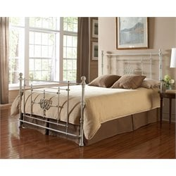 Pemberly Row Metal Poster Bed in White