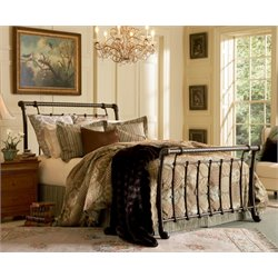 Pemberly Row Metal Sleigh Bed in Ancient Gold