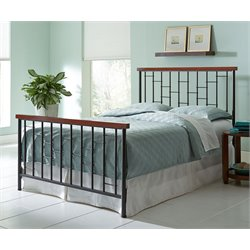 Pemberly Row Metal Spindle Bed in Cherry