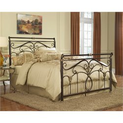 Pemberly Row Metal Sleigh Bed in Marbled Russet