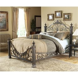 Pemberly Row Queen Metal Poster Bed in Gilded Slate