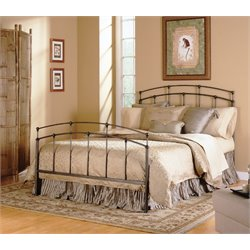 Pemberly Row Metal Bed in Black Walnut