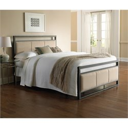 Pemberly Row Metal Upholstered Bed in Coffee