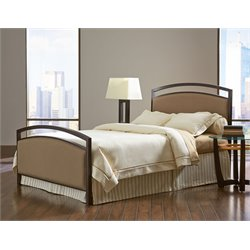 Pemberly Row Metal Upholstered Panel Bed in Brown