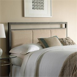 Pemberly Row Metal Upholstered Headboard in Coffee