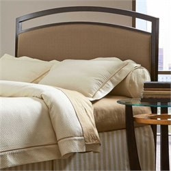 Pemberly Row Metal Upholstered Headboard in Brown