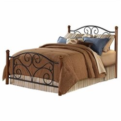 Pemberly Row Metal Poster Bed in Black and Walnut