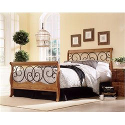 Pemberly Row Sleigh Bed in Honey Oak with Autumn Brown