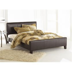 Pemberly Row Leather Platform Bed in Sable
