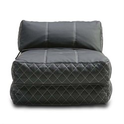 Pemberly Row Leather Convertible Bean Bag Chair Bed-MER-823