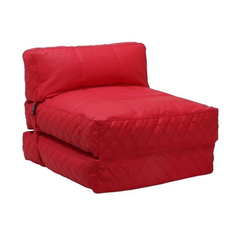 Pemberly Row Leather Convertible Bean Bag Chair Bed In Red
