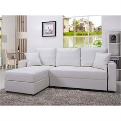 Pemberly Row Faux Leather Convertible Storage Sectional-MER-823