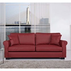 Pemberly Row Faux Leather Sofa in Wine Red
