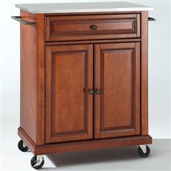 Pemberly Row Stainless Steel Top Classic Cherry Kitchen Cart