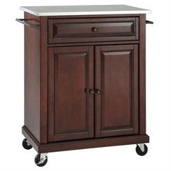 Pemberly Row Stainless Steel Top Kitchen Cart in Mahogany