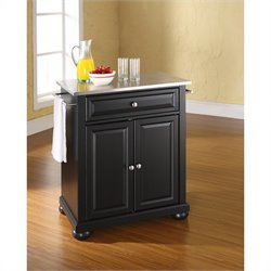 Pemberly Row Stainless Steel Top Black Kitchen Island